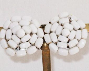 Vintage West Germany White Milk Glass Clip Earrings (E-1-6)
