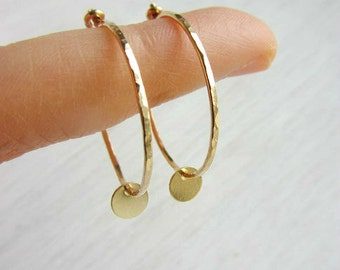Small gold hoop earrings,1 inch hoops,14k yellow gold filled hammered hoops,simple modern minimal jewelry