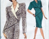Very Easy Very Vogue 7855 - Vintage 90s Dress Pattern with wrapped, one-button front  UNCUT Size 6-10