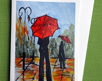 In Rain IV - Hand Painted Colorful Greeting Card
