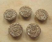 Ornate Gold Mesh Antique Style Buttons - Set of Five Vintage Style Gold Mirrored Backed Buttons - Gold Metal Button