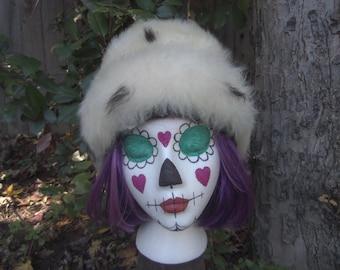 Vintage Fur Hat Tuscan Lamb Fur Hat Shearling Hat Cream Black Spots Italy Italian Winter 1960s Fur Hat 60s Fur Hat 1970s Fur Hat 70s Fur Hat
