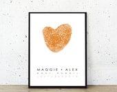 Alternative Wedding Guest Book Gay Wedding Gift Fingerprint Heart