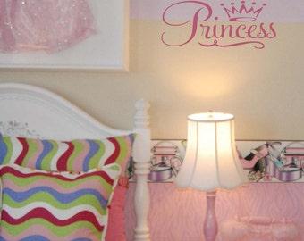 Princess wordart with Tiara wall decal vinyl, princess vinyl lettering, girl bedroom decal (W00426)