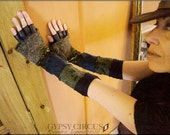 Arm warmers - Bohemian Gypsy - Fingerless - Patchwork - Burning Man - Accessory - Gloves - Belly Dance Costume - One Size