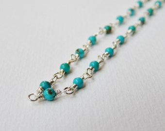 Tiny Turquoise Necklace - Sterling Silver Beadwork Necklace Rosary Necklace Beaded Necklace Rosary Necklace Turquoise Beads