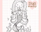 Mermaid Dreams Digital Stamp for Card Making, Paper Crafts, Scrapbooking, Hand Embroidery, Invitations, Stickers, Coloring Pages, Stamping