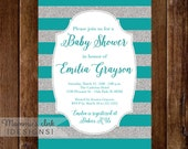 Silver Glitter Baby Shower Invitation, Teal & Silver Stripes, Shower Invitation, Teal Party Invitation, Glam Baby Shower Invite