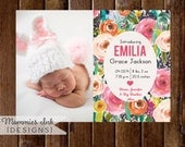 Watercolor Birth Announcement, Watercolor Flowers Announcement, Floral Announcement, Baby Announcement, DIY, Spring Flowers