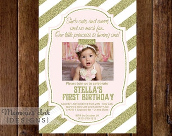 Blush Pink and Gold Glitter First Birthday Photo Invitation, Gold Stripes, Gold First Birthday Invite, Pink and Gold Invitation, DIY