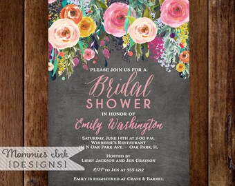 Bridal Shower Invitation, Watercolor Flowers Invitation, Floral Invitation, Chalkboard Shower Invitation, DIY, Floral Invite, Shower Invite
