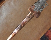 Vintage Old Mexican Letter Opener, mixed metals copper and silver, signed Victoria; shipping included in price.