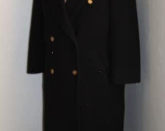 Vintage 1980s Black Long Jg Hook Wool Coat  Size 10  made in usa
