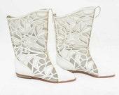 Vtg 80s Rad White NWT Hippie Boho Leather Cool Abstract Mosaic Sheer Mesh Cute Calf Length Boots 8.5