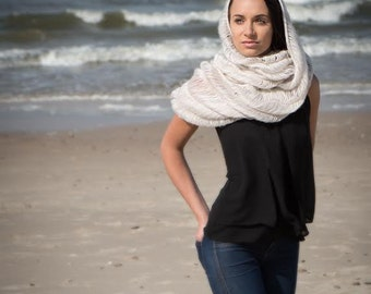 knitted cowl color ivory, cream, light sand