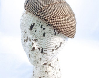 Fascinator Black and White Wool Houndstooth Made to Order