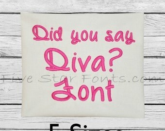 Did you say DIVA Embroidery Font  5 Sizes Machine embroidery designs Alphabet