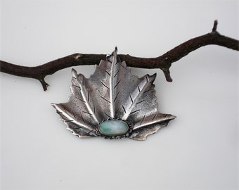 Vintage Asian Sterling Silver Brooch with Jade