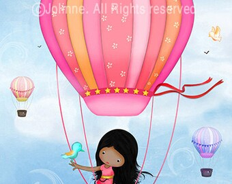 African American wall art, kids room art, girls room decor, hot air balloon