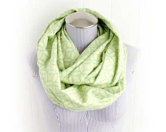 Lime Green and Yellow Green Trellis Print Flannel Infinity Scarf