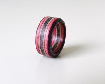 Black and Red Skateboard wood ring in Size 5.5