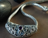 Large Bali Silver Slide Necklace - Sterling Silver with Amethyst Heavy Weight Statement Necklace