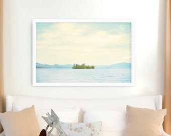 "Large Wall Art // Landscape Photography // Serene Landscape Photography // Modern Decor // Large Living Room Art // ""Lake Island"""