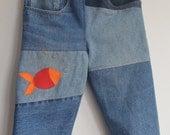 Denim Pants with Applique Fish