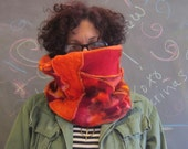 Harry and the Hippe Chic Chunky Patchwork Hand Dyed Neck Warmer Loop Scarf