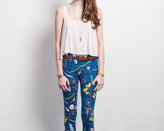 Desert Floral Leggings in Pale Pink, Rust and Yellow Ochre on Blue