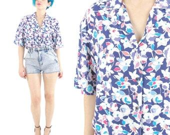 Floral Print Short Sleeve Shirt 80s Floral Shirt Vintage Womens Floral Print Shirt Collared Button Down Shirt Purple Floral Summer Top (M/L)