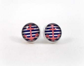 Anchor Earrings Pink Blue and White Anchor Jewelry Striped Nautical Jewelry Preppy Teen Earrings Summer Trend Jewelry Sailing Jewelry