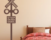 Railroad Crossing Sign Decal - Train Crossing Wall Decal - Train Wall Art - 5 foot