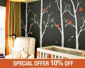 Tree wall decals - Thin Birch Tree Wall Decals Sticker Set