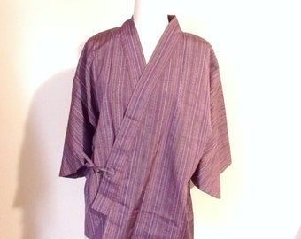 SALE Vintage KIMONO jacket work wear SAMUE pink purple stripe size L ready to ship