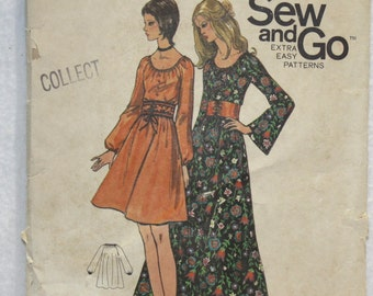 60's Vintage Butterick Sewing Pattern 6080 Dress in Two Lengths  size 12 Bust 34