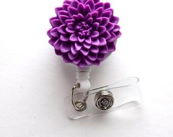Purple Chrysanthemum Flower  - Name Badge Holder - Retractable ID Badge Reel  - Nurse ID Badge Clip - Flower Badge Holder