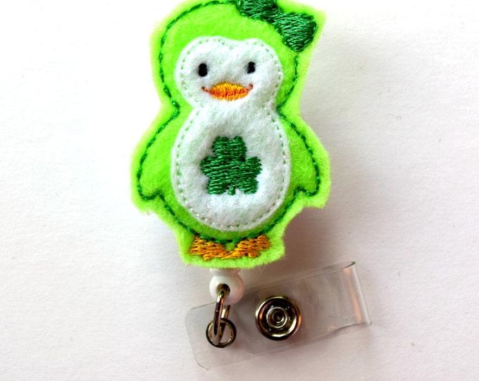 Patty the Penguin - Cute Badge Holder - Nurses Badge Holder - Felt Badge - Nursing Badge Holder - Teacher Badge Reel - St. Patricks Day Gift