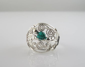 RI-0103 Individual Birthstone Swarovski Crystal  Handmade Ring Wire Wrapped With Sterling Silver Wire