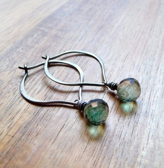 Lotus Petal Hoop Earrings, Mystic Green Quartz Earrings, Faceted Briolette Gemstone Hoops, Oxidized Sterling Silver Earrings