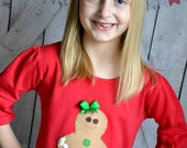 SALE Ready to Ship Girls Gingerbread Cookie Christmas Applique Shirt on Red Bell Sleeved Tunic