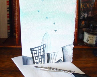 Hello, City Blank Greeting Cards featuring Watercolors by Amy Crook