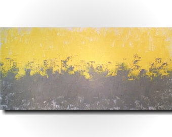 Large Abstract painting - 24 X 48 Inches-by Artist JMJartstudio- Taken on-Wall art-wall decor - Gray painting-Oil painting- Yellow painting