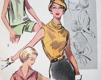 McCalls 3941 / Vintage 50s Sewing Pattern / Blouse Shirt Top / Size 12 Bust 32