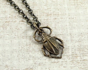 Egyptian Scarab Necklace, Antique Bronze Egyptian Scarab Charm on a Bronze Cable Chain