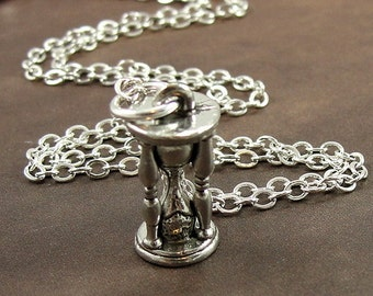 Hourglass Sand Timer Necklace, Silver Hourglass Charm on a Silver Cable Chain