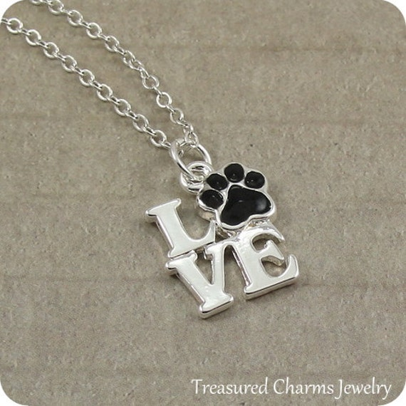 Love Paw Print Necklace, Silver Plated Pet Lover, Love Paw Print Charm on a Silver Cable Chain