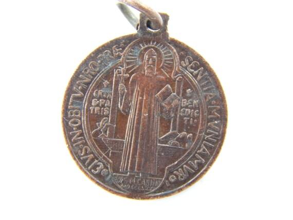 Vintage Saint Benedict Bronze Exorcism Medal Benoit Catholic