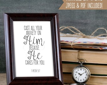 Scripture Wall Art 1 Peter 5:7 - Bible Verse Printable - Christian Wall Art - Scripture Wall Decor - Cast all your Anxiety