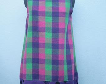 colourful CATS check and purple polka dot jersey handmade bubble shape shift dress o.o.a.k made in u.k size S-M UK 10-12